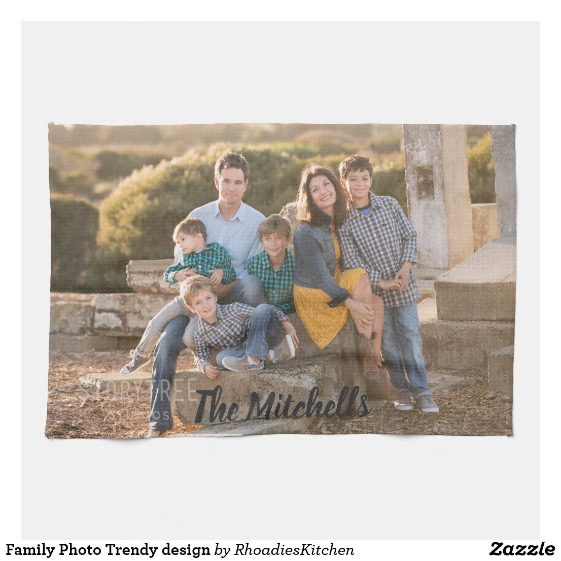 Family Photo Personalise your design Tea Towel