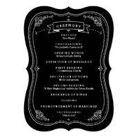 Fancy Chalkboard Vintage Wedding Program Card