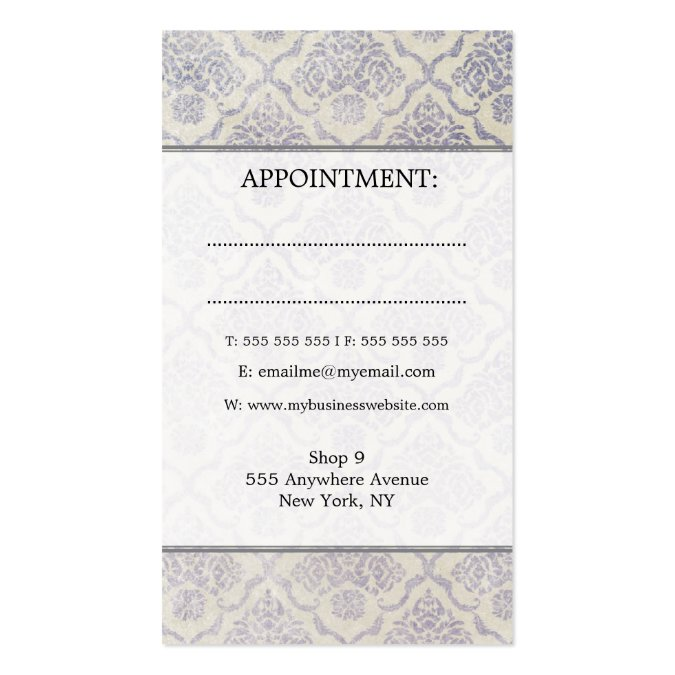 Fashion Girl 2 Damask Hair Salon Appointment Cards