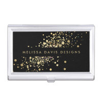 Faux Gold Confetti on Black Modern Card Case