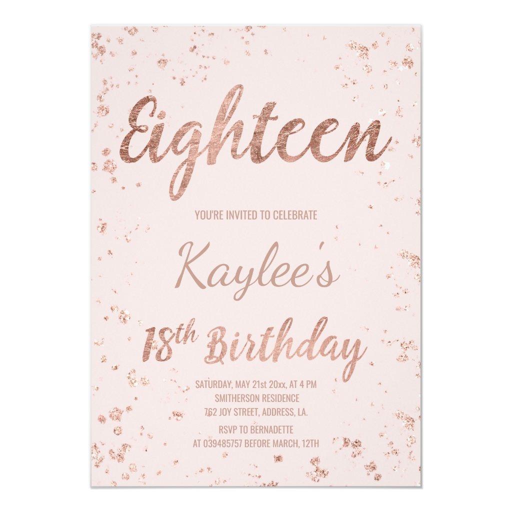 Faux rose gold confetti blush 18th Birthday