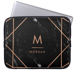 Faux Rose Gold Geometric | Black Marble Look Laptop Sleeve