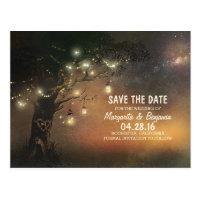 Fireflies mason jar tree rustic save the date postcard