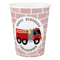 Firetruck Kids Birthday Party Cups Paper Cup