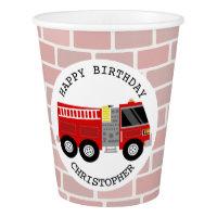 Firetruck Kids Birthday Paper Cup