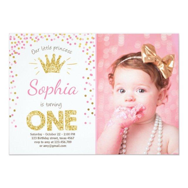 First birthday invitation Princess Gold Pink