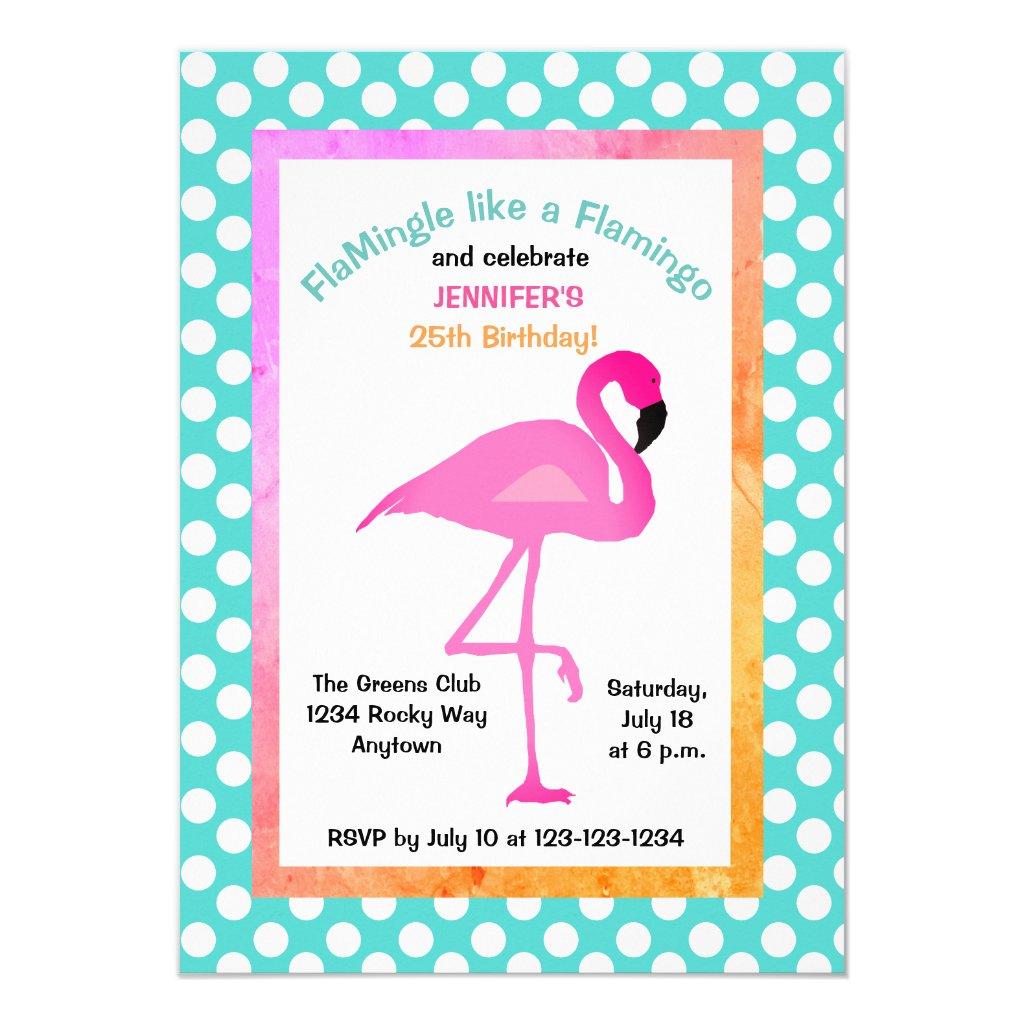 Flamingo and Polka Dot Party Invitation