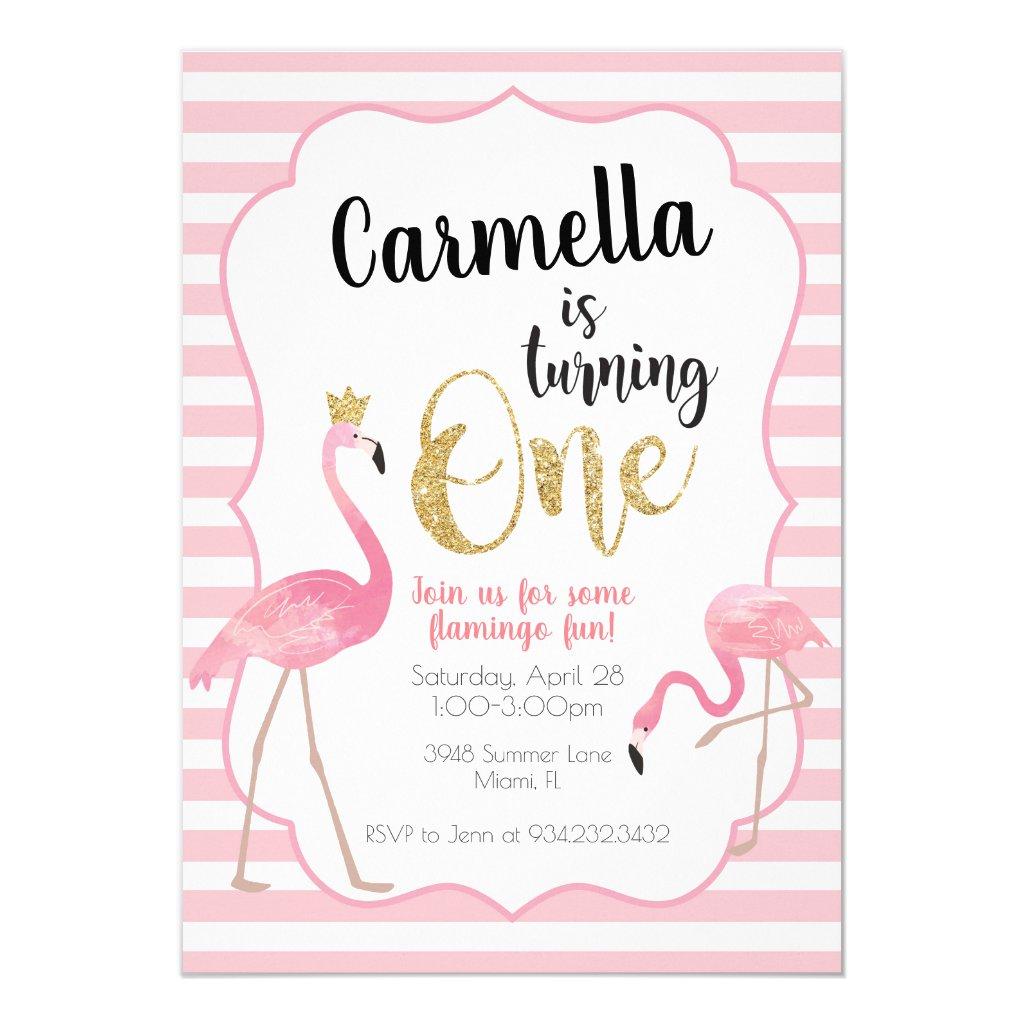 Flamingo First Birthday Invitation