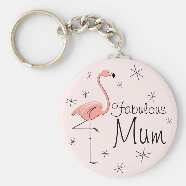 Flamingo Pink 'Fabulous Mum' keychain