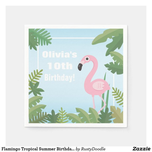 Flamingo Tropical Summer Birthday Party Supplies Paper Napkin