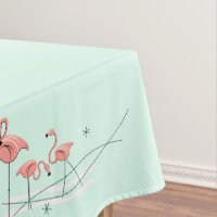 Flamingos Aqua Group border tablecloth