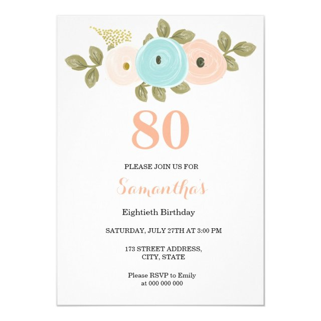 Floral Pretty Peach 80th Birthday Invitation