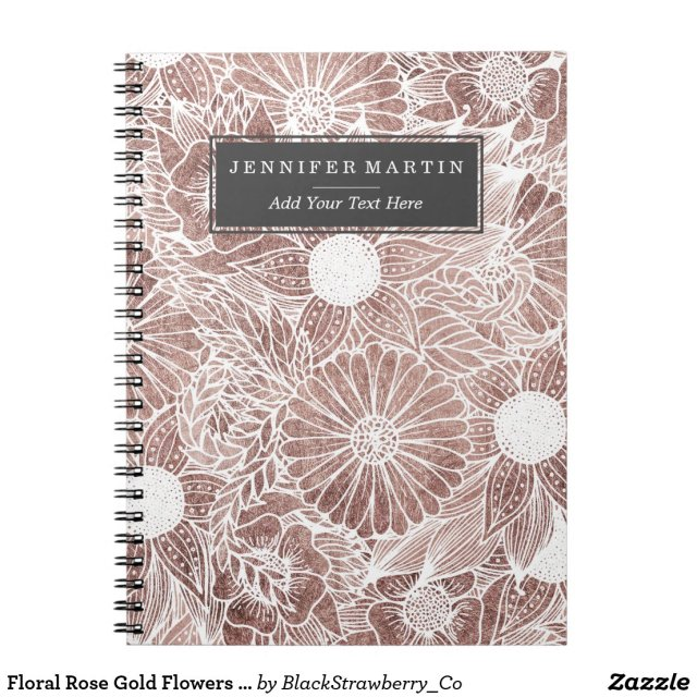 Floral Rose Gold Flowers and Leaves Drawing White Notebook