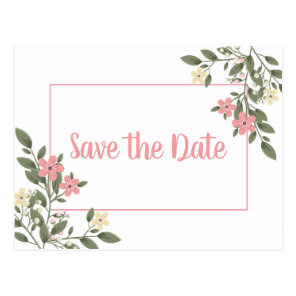 Floral Save The Date Pink Wedding Engagement Postcard