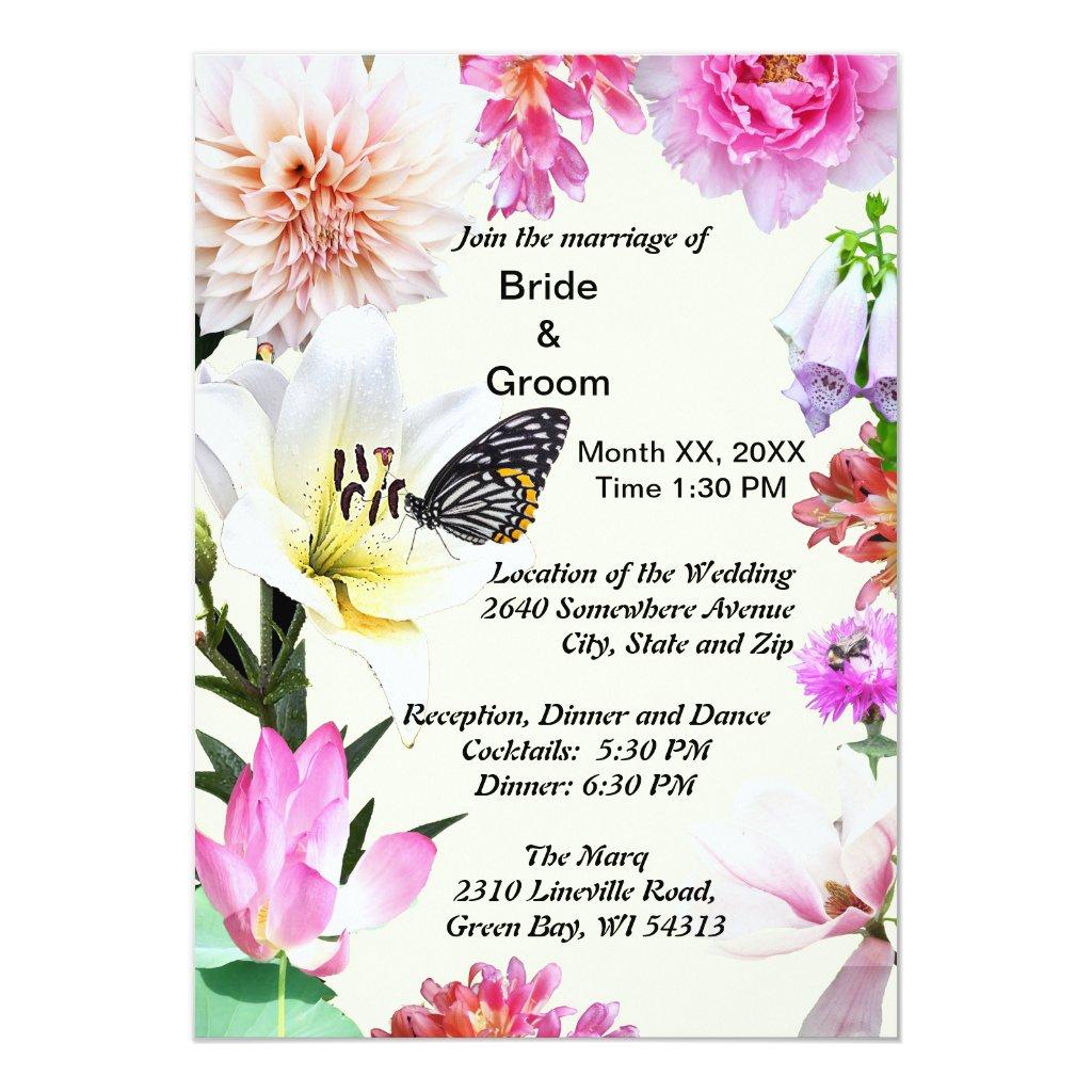 Flowers & Butterfly Wedding Invitation
