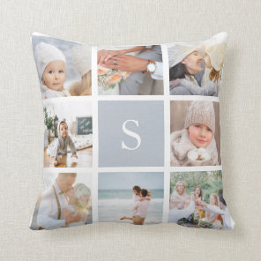 Fog Grey Monogram Photo Collage Cushion