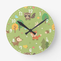 Forest Woodland Animal Wall Clocks