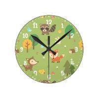 Forest Woodland Animal Pattern Kids Room Decor Round Wall Clocks