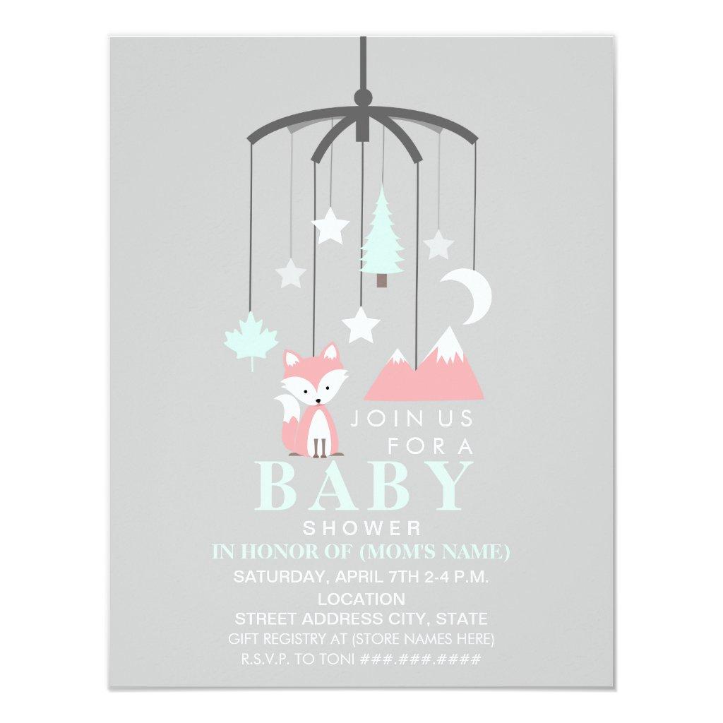 Fox Mobile Modern Girl Baby Shower