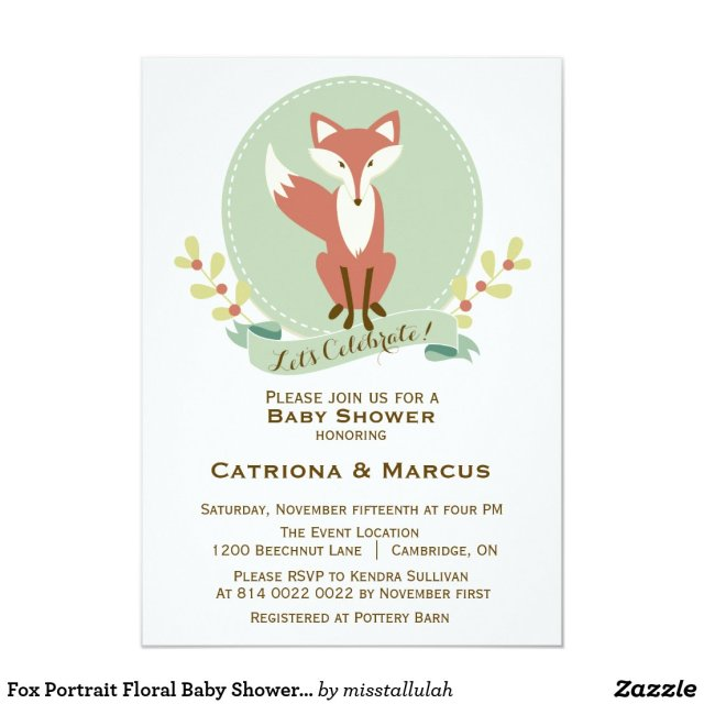 Fox Portrait Floral Baby Shower Invitation