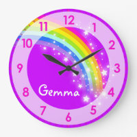 Fun kids girls rainbow name purple wall clock