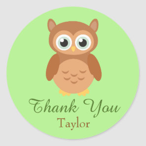 Fun Owl Customise Thank You Classic Round Sticker