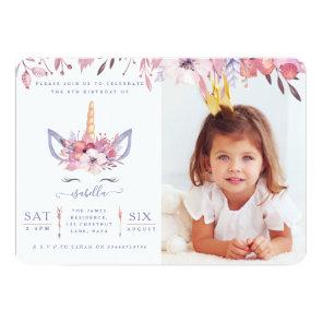 Fun Unicorn face watercolor photo party invite. Invitation