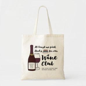 Funny Book Club   Really Wine Club Custom Book Bag