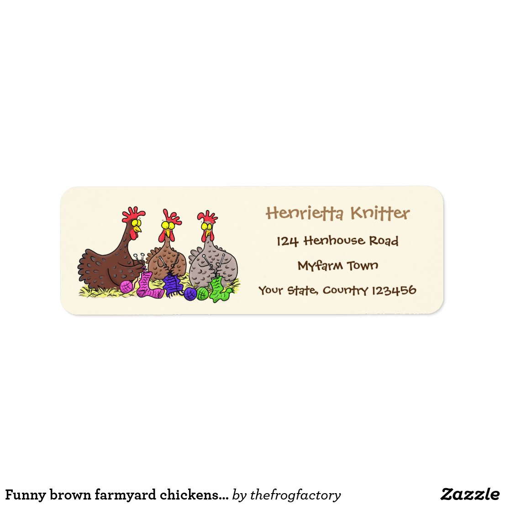 Funny brown farmyard chickens knitting cartoon