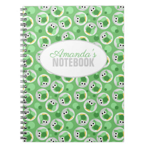 Funny Cute Green Owl Pattern Personalised Notebook
