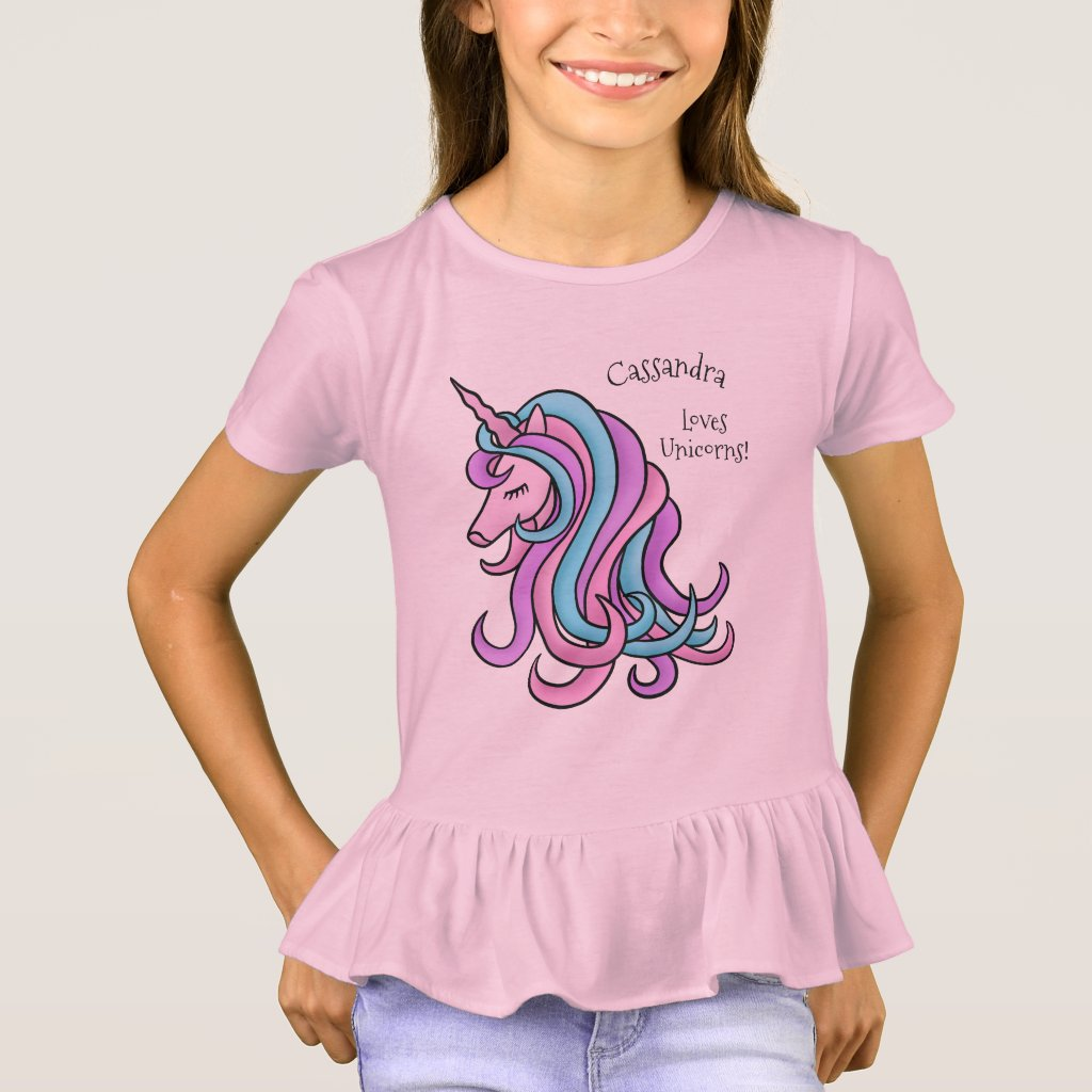Funny cute unicorn with name T-Shirt