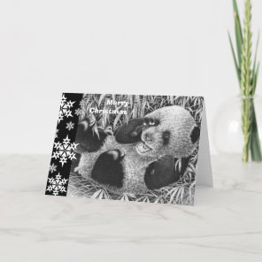 Giant Panda Cub Christmas Card