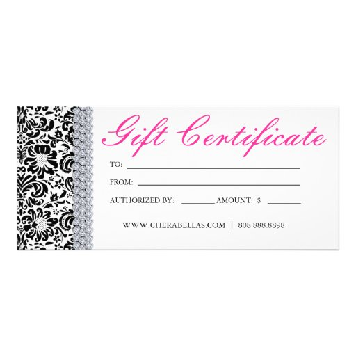 Gift Certificates Salon Spa Pink Crown Jewellery Rack Card