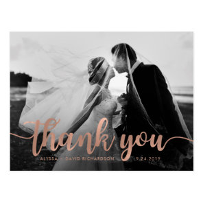 Glam Faux Rose Gold Wedding Photo Thank You Postcard