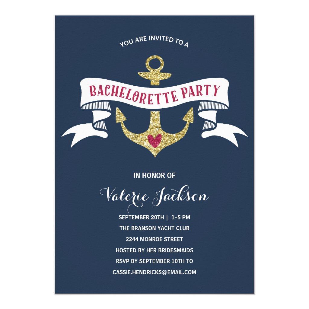 Glam Nautical Bachelorette Party Card