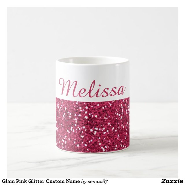 Glam Pink Glitter Custom Name Coffee Mug