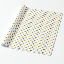 Gold and White Polka Dot Wrapping Paper