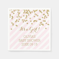 Gold Blush Pink Confetti Stripes Baby Shower Standard Cocktail Napkin
