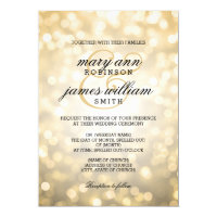 Gold Bokeh Lights Elegant Wedding 5x7 Paper Invitation Card