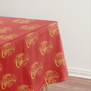 Gold Calligraphy Merry Christmas Tablecloth