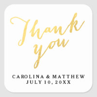Gold Calligraphy   Wedding Thank You Sticker