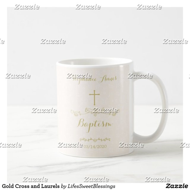 Gold Cross and Laurels Coffee Mug