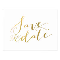 Gold Foil Glamor | Save the Date Postcard