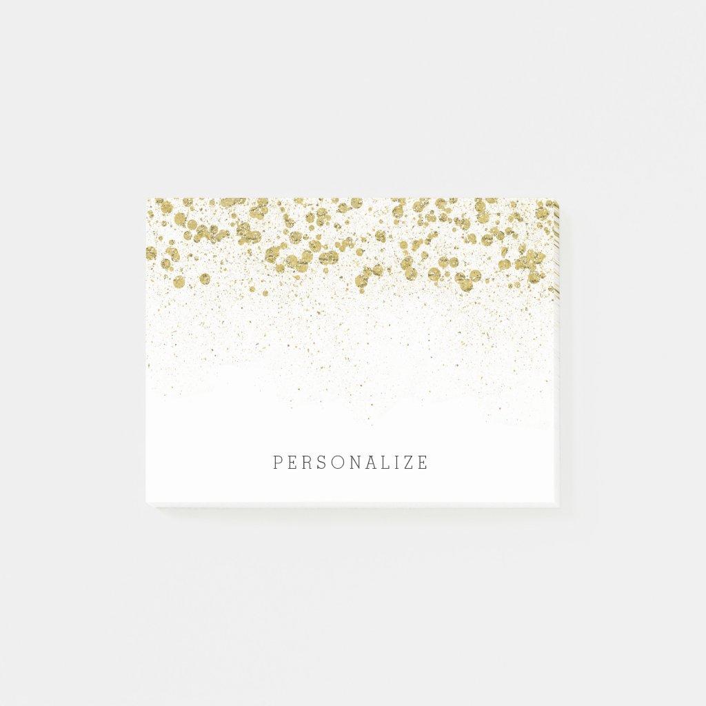 Gold Glitter Confetti Post It Notes