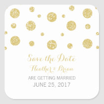 Gold Glitter Confetti Save the Date Stickers