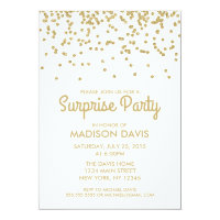 Gold Glitter Confetti Surprise Birthday Party Card