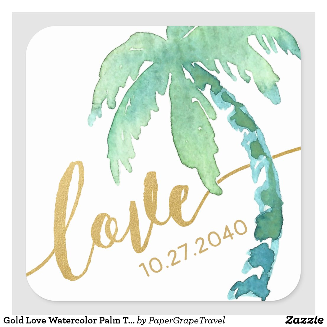 Gold Love Watercolor Palm Tree Destination Beach Square Sticker