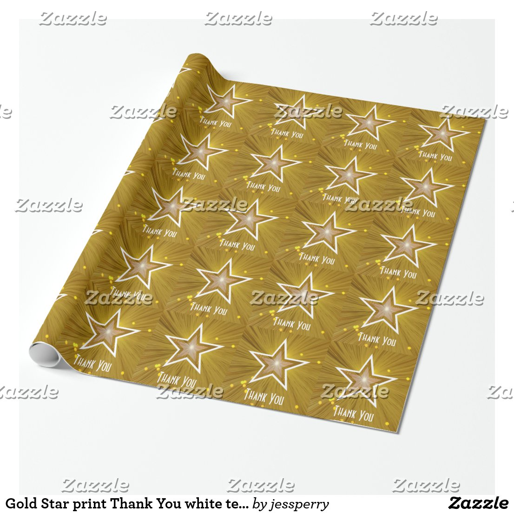 Gold Star print Thank You white text