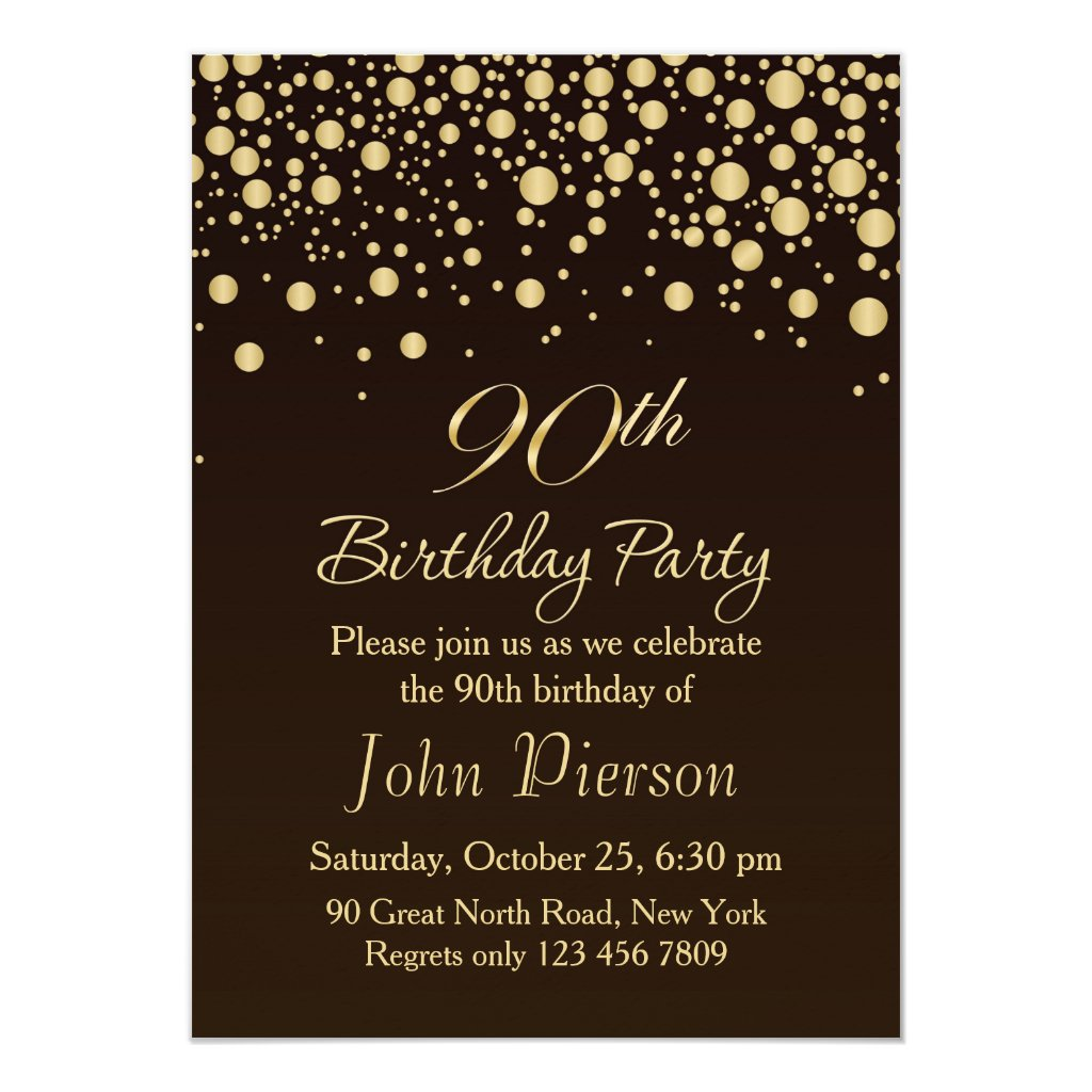 Golden confetti 90th Birthday Party Invitation