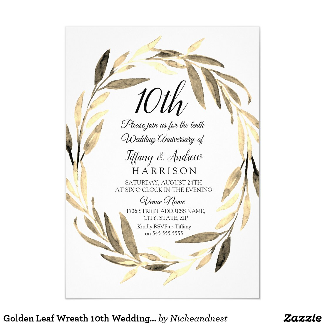 Golden Leaf Wreath 10th Wedding Anniversary Invite